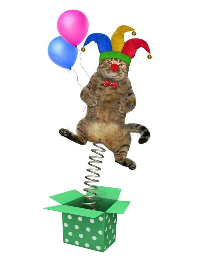 跳出箱子的猫小丑 向量例证