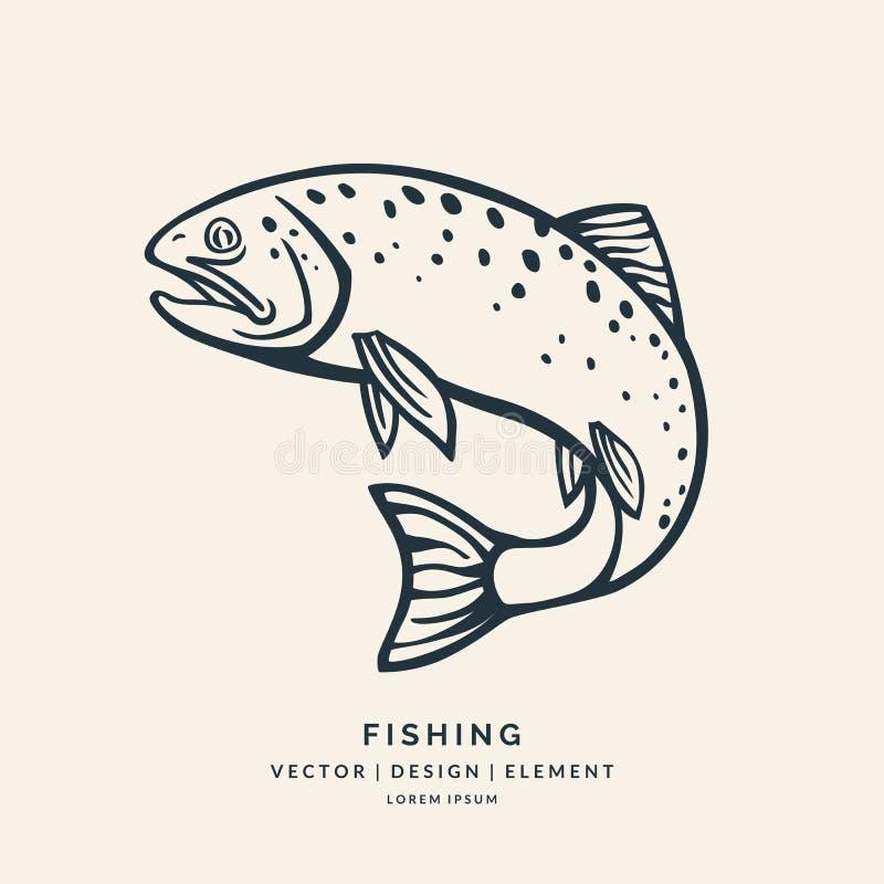 跳出水的鳟鱼鱼 向量例证