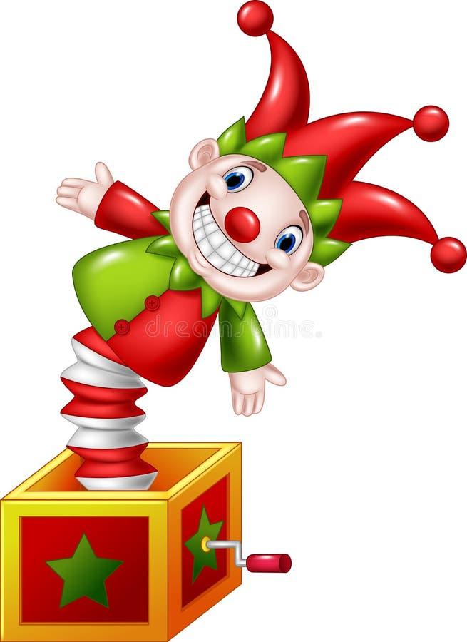 跳出从箱子的动画片可笑的玩具 库存例证