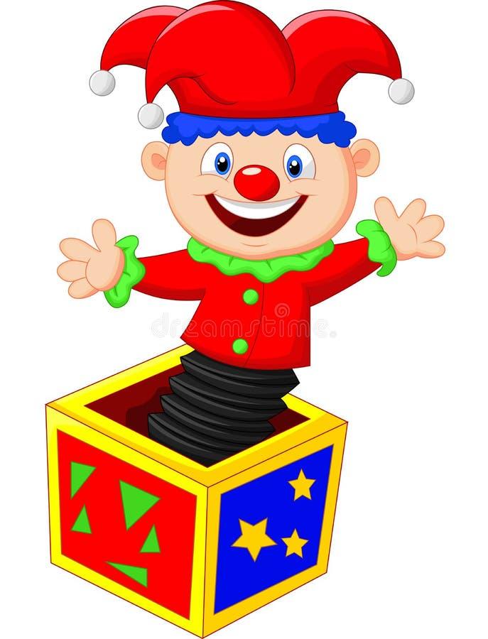 跳出从箱子的可笑的玩具 库存例证