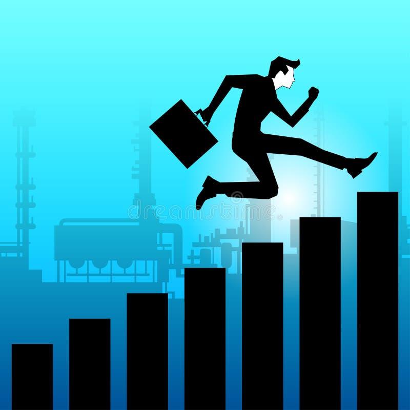 跳往成功的商人 向量例证