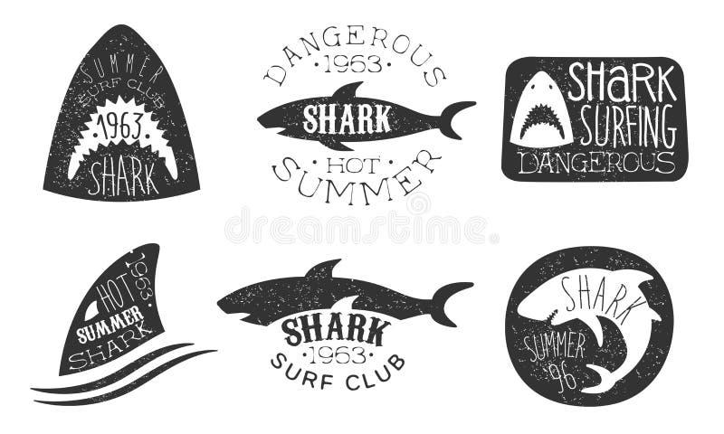 跳水俱乐部标志组 白色背景中的矢量插图 向量例证