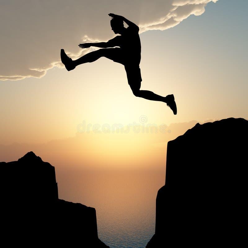 跳的人岩石剪影 免版税库存图片