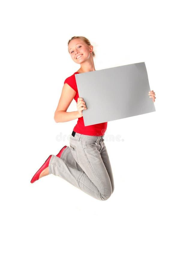 跳的妇女 免版税库存照片