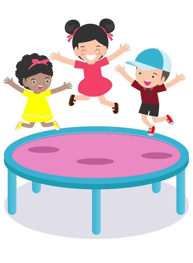 跳的孩子绷床 平展实践不同的体育和体育活动在体育类传染媒介的孩子 库存例证