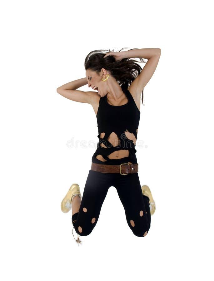 跳的时髦的妇女 免版税库存照片