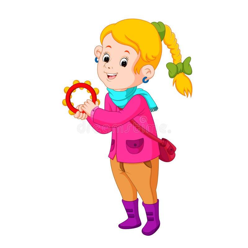 跳舞与乐器小手鼓的孩子 向量例证