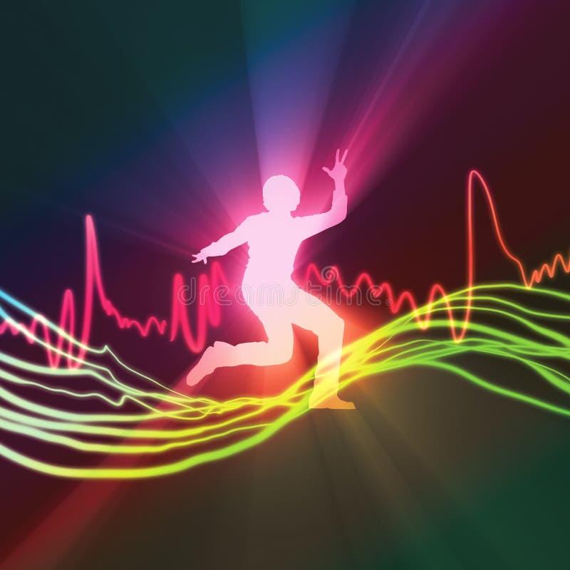 跳舞人斑点音乐光激情  向量例证