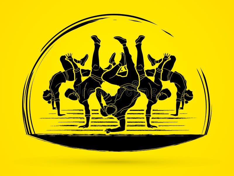跳舞人的,街道舞蹈行动,一起跳舞图表传染媒介 库存例证
