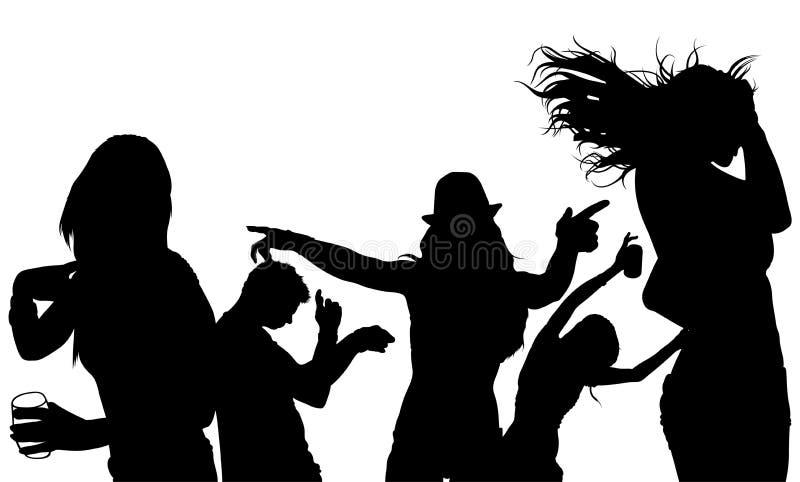 跳舞人群剪影 皇族释放例证