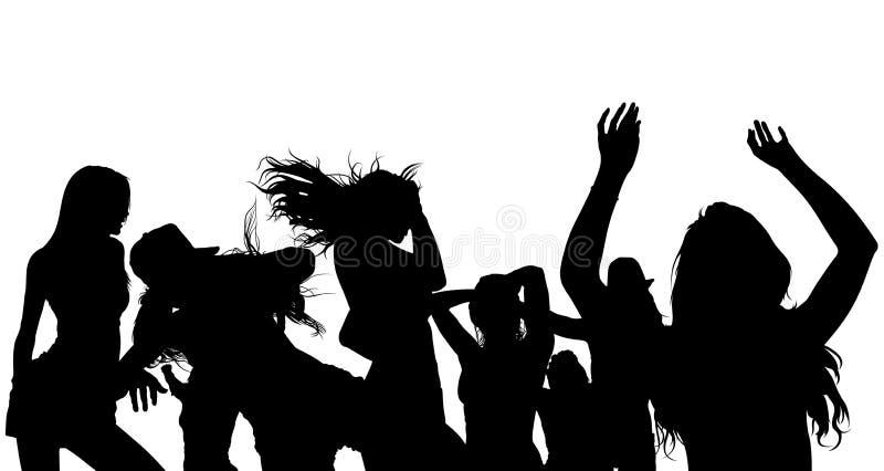 跳舞人群剪影 库存例证