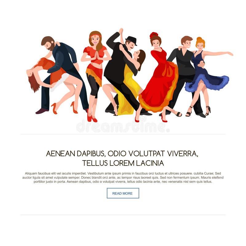 跳舞人,舞蹈家Bachata,节律唱诵的音乐,辣调味汁,印地安人,芭蕾,小条,摇滚乐,断裂,佛拉明柯舞曲,探戈 向量例证