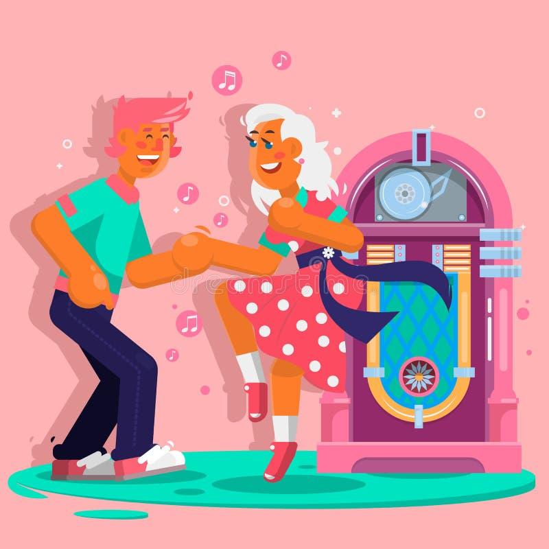 跳舞人滑稽的动画片样式 愉快的男人和妇女移动向音乐 平的传染媒介例证 库存例证