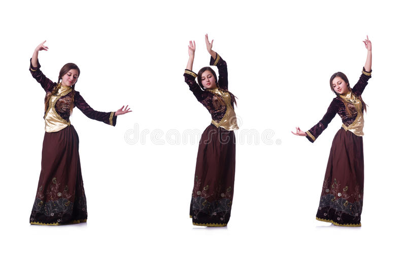 跳舞传统阿兹里舞蹈的小姐 免版税库存照片