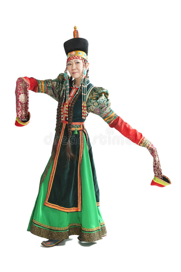 跳舞全国Buryat舞蹈的妇女 库存图片