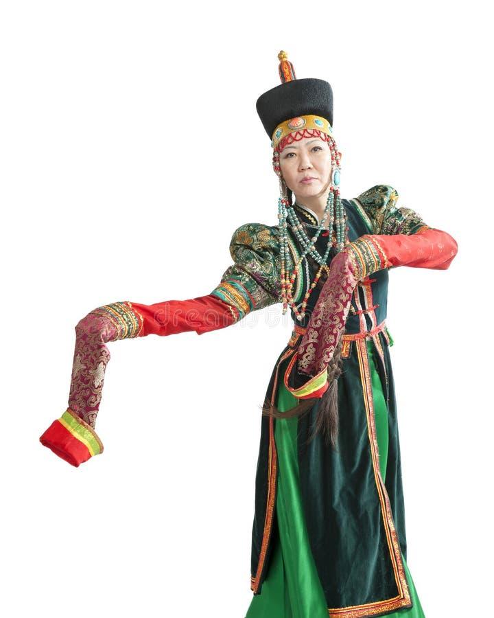 跳舞全国Buryat舞蹈的妇女 免版税库存照片