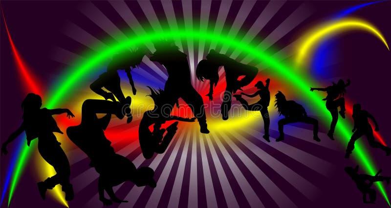 跳舞反对舞池的光芒的人剪影  向量例证
