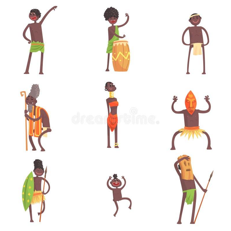 跳舞和做在叶子缠腰带的非洲部落成员宗教仪式被设置微笑的漫画人物图片