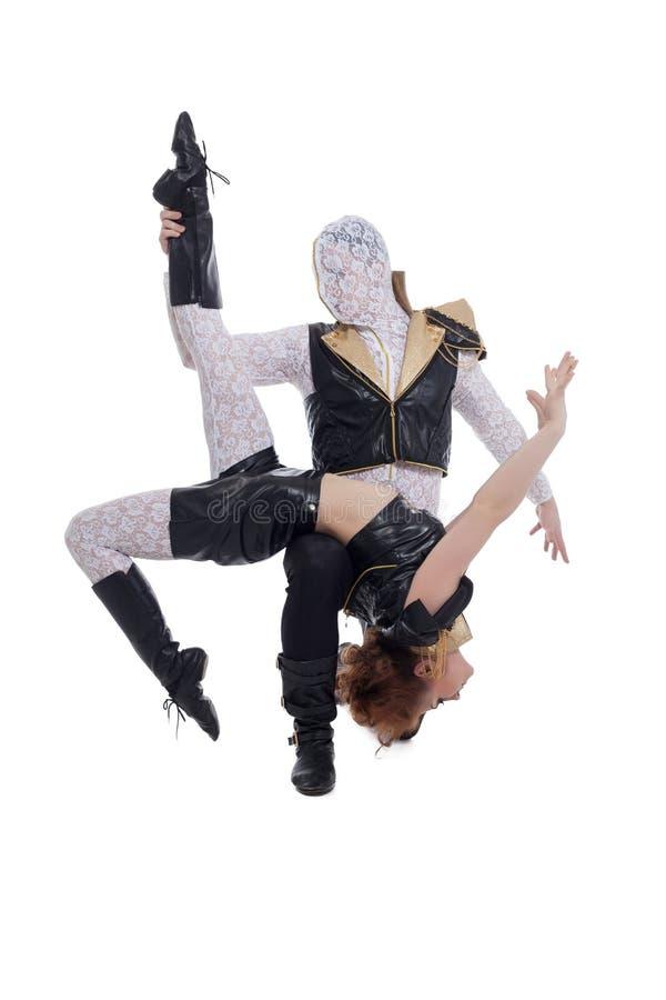 跳舞在对的青年人 查出在白色 免版税库存图片