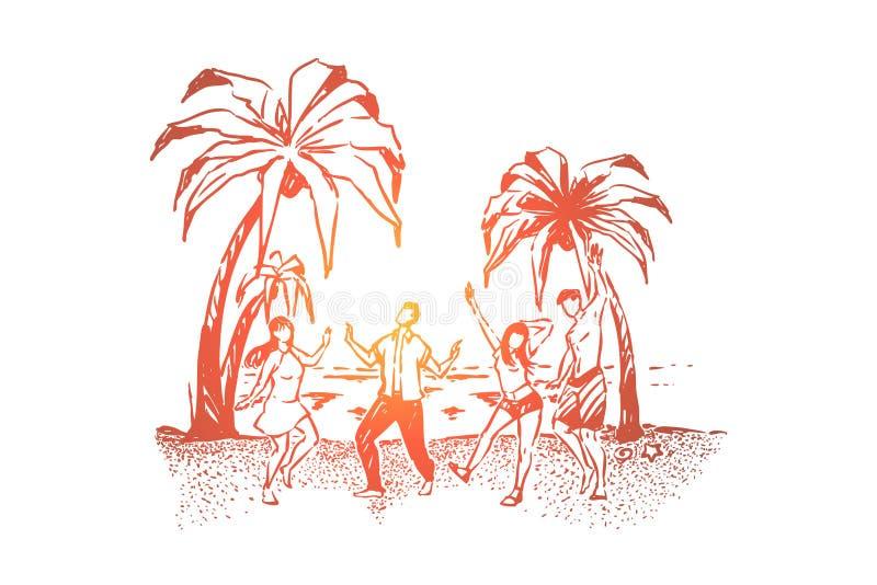 跳舞在海岸、无忧无虑的男人和妇女的年轻人获得乐趣,旅行到热带海岛,夏天休假假期 皇族释放例证