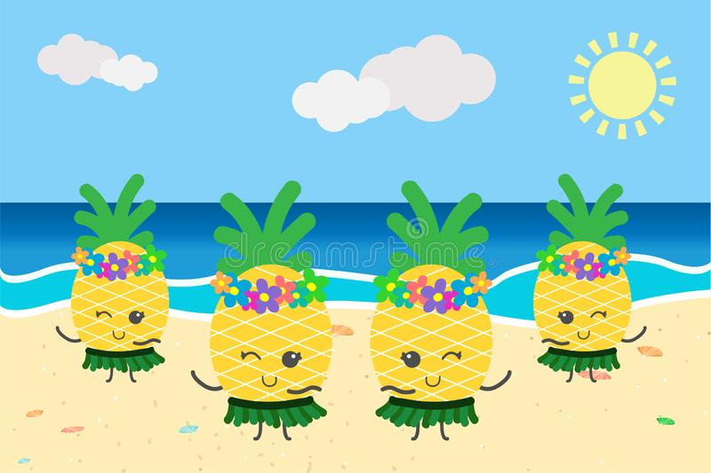 跳舞在海滩夏天横幅模板的逗人喜爱的菠萝 库存照片