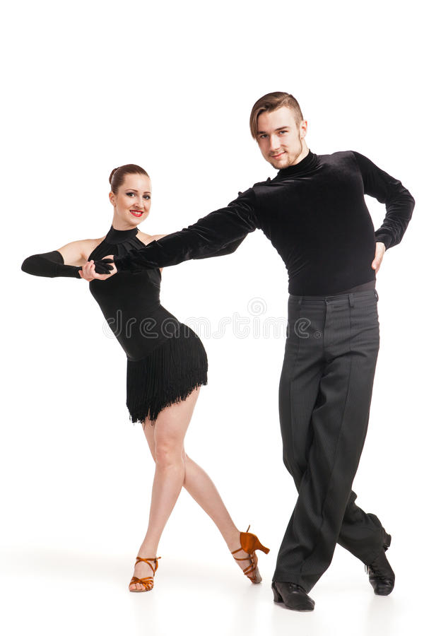 跳舞在白色的专业艺术家 库存照片