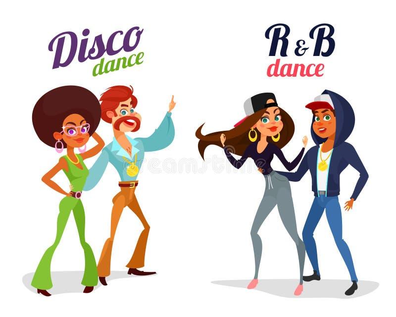 跳舞在迪斯科样式和节奏布鲁斯的两对动画片夫妇舞蹈 向量例证