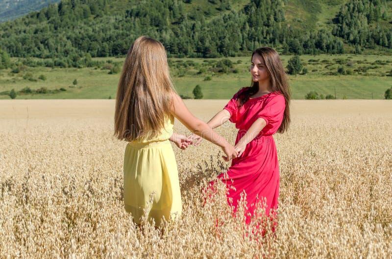 跳舞在领域的女孩 库存照片