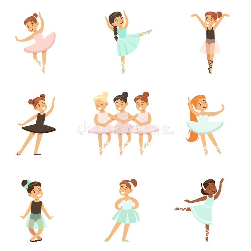 跳舞在经典舞蹈课,未来专业芭蕾舞女演员舞蹈家的小女孩芭蕾 皇族释放例证