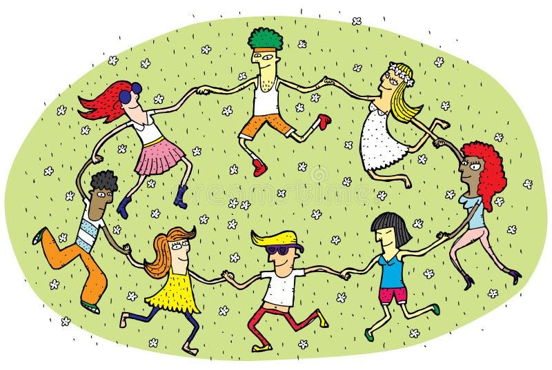 跳舞在绿草领域的一个圈子的青年人与Flowe 库存例证