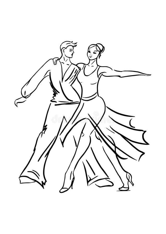 跳舞夫妇,在白色背景的黑概述 免版税库存照片