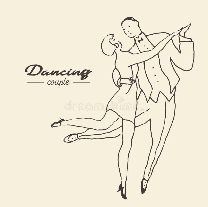 跳舞夫妇,手拉的传染媒介剪影 库存例证