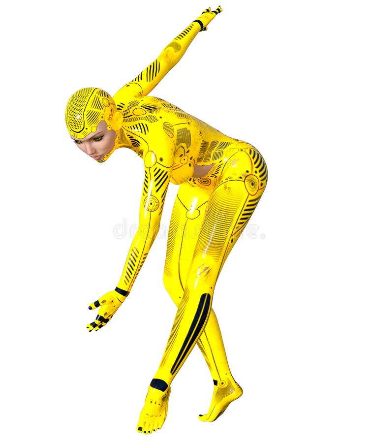 跳舞妇女机器人 金droid 人工智能 向量例证