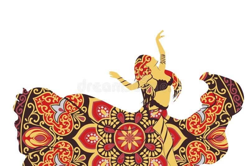 跳舞妇女的剪影 向量例证