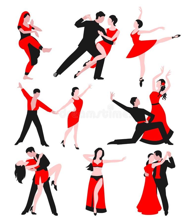 跳舞拉丁美洲的浪漫人和人民的夫妇一起跳舞有妇女舞厅娱乐探戈的人 皇族释放例证
