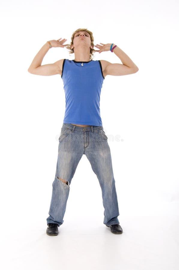 跳舞方式强壮男子 库存照片