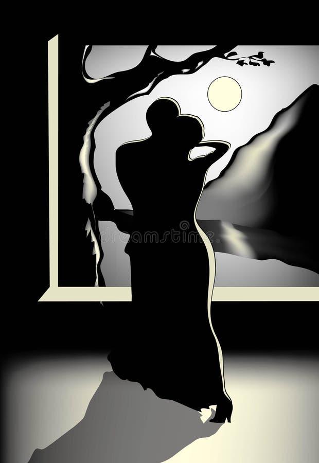 跳舞月亮晚上人二下 向量例证