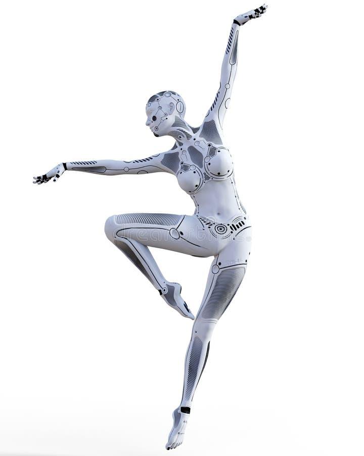 跳舞机器人妇女 白合金droid 人工智能 向量例证