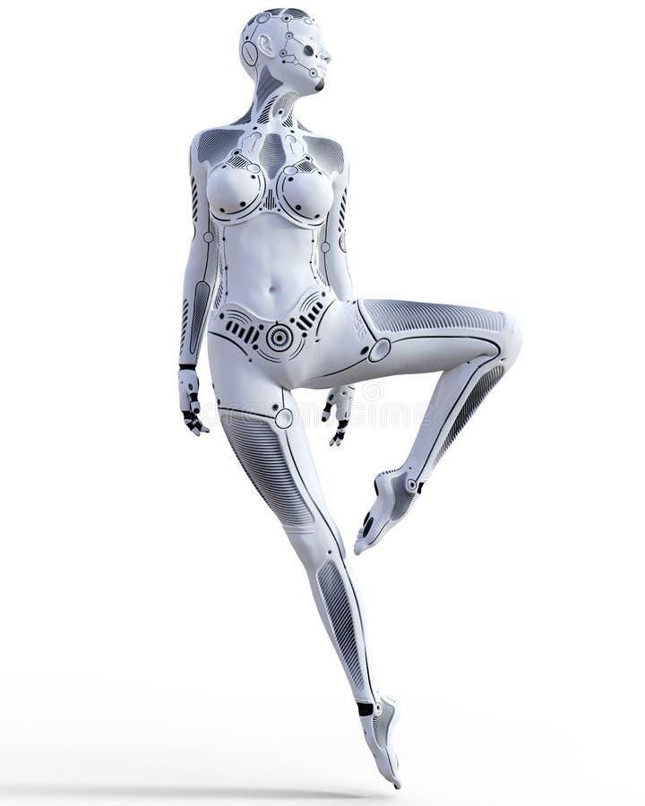 跳舞机器人妇女 白合金droid 人工智能 皇族释放例证