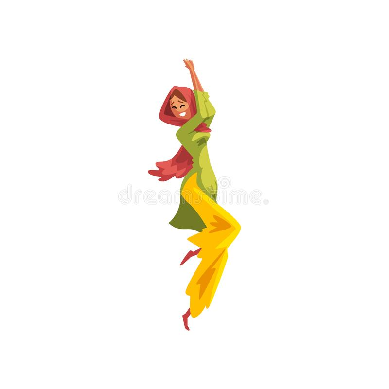跳舞民间舞的传统印地安衣裳的美丽的女孩导航在白色背景的例证 库存例证