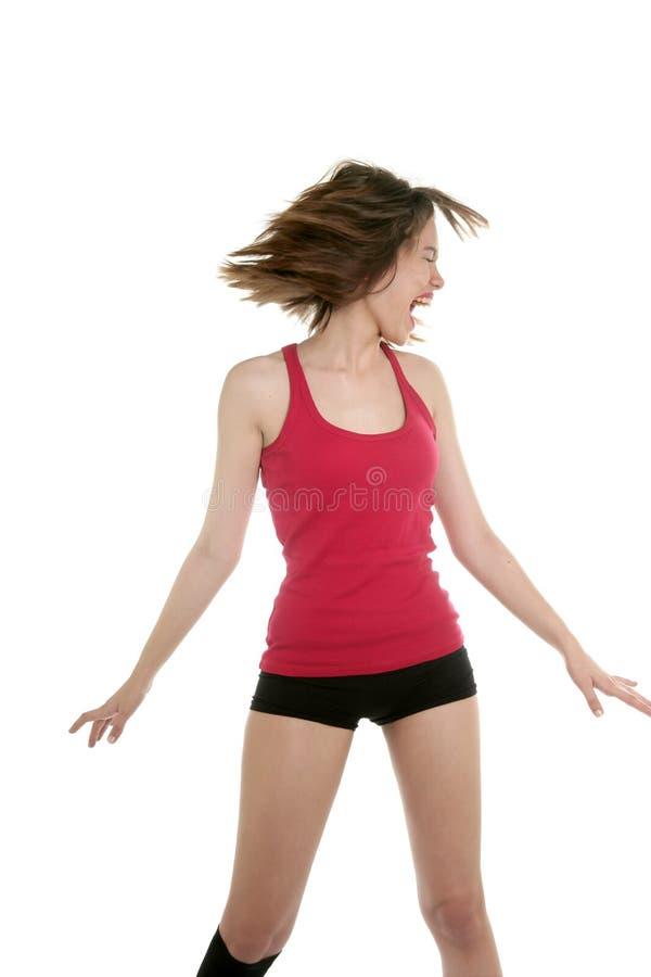 跳舞气喘性感的短的妇女年轻人 免版税库存照片