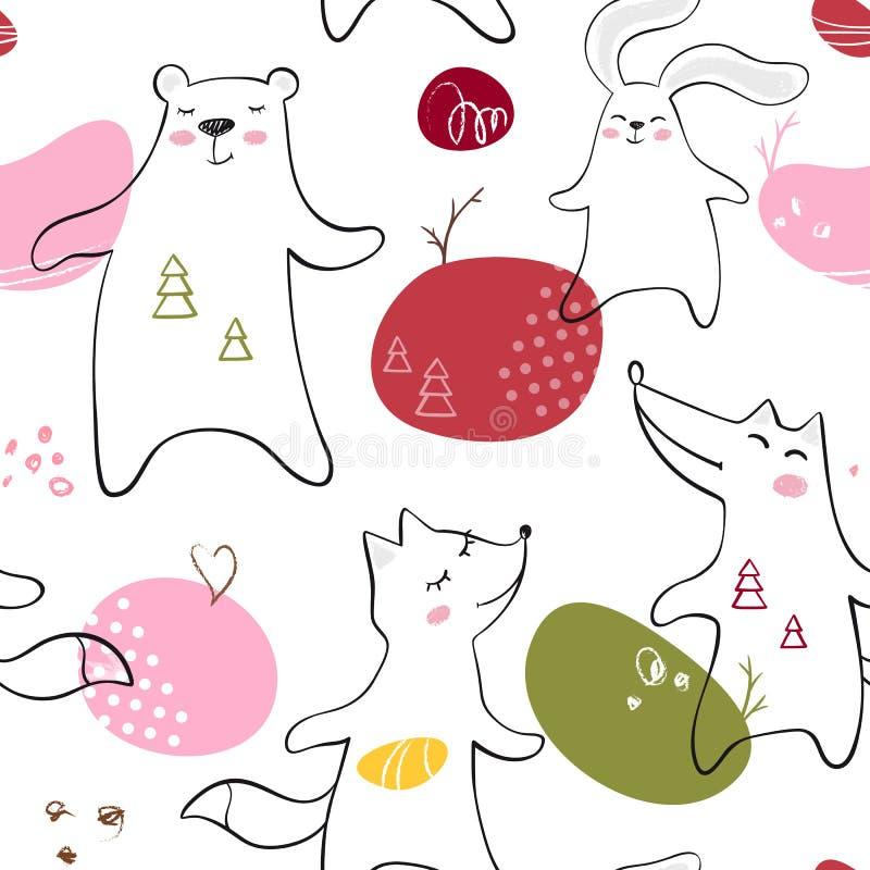 跳舞熊,狐狸,狼,兔宝宝婴孩无缝的样式 逗人喜爱的动物听到与简单的抽象设计的音乐 皇族释放例证
