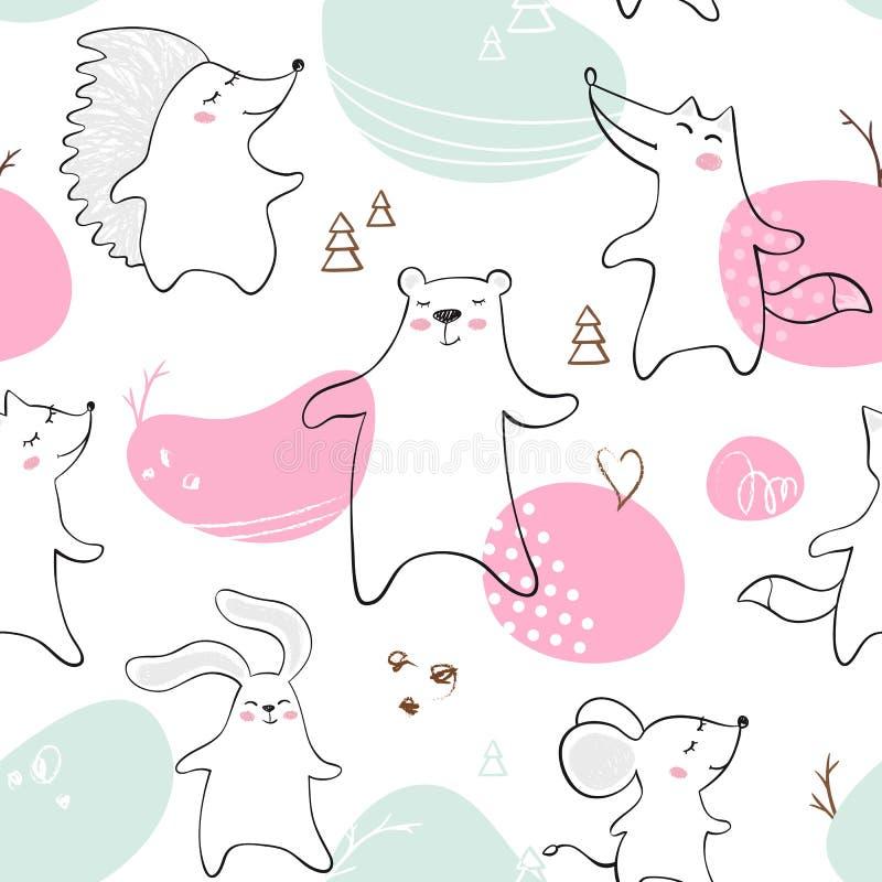 跳舞熊,狐狸,狼,老鼠,兔宝宝,猬婴孩无缝的样式 逗人喜爱的动物听到与简单的摘要的音乐 库存例证