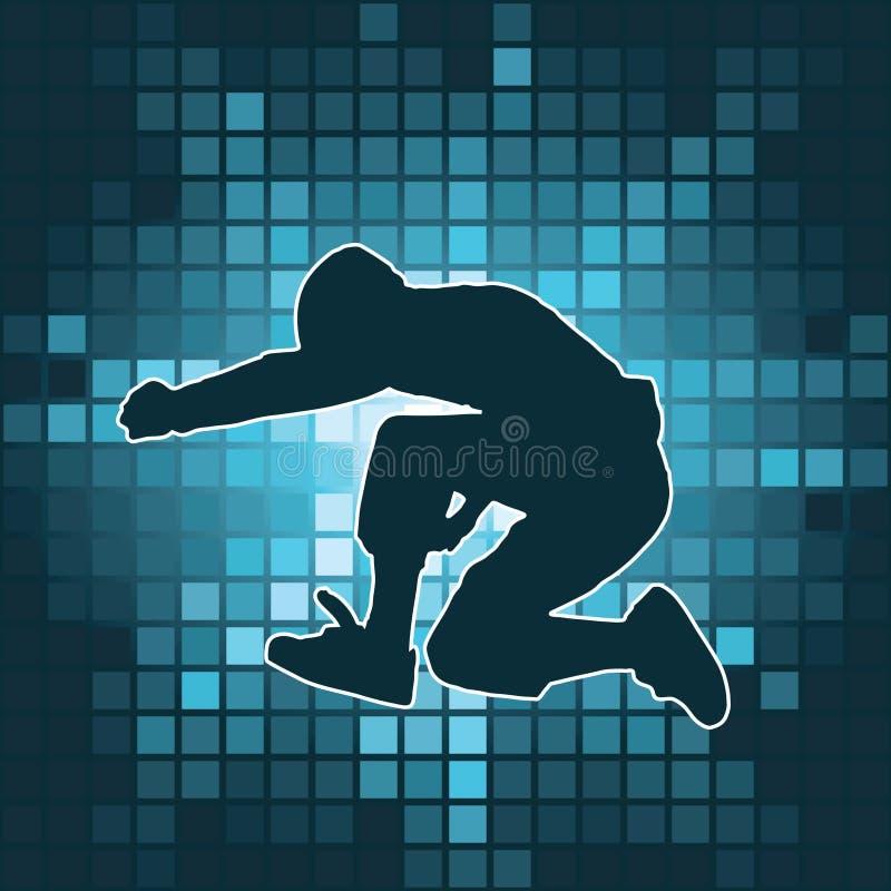 跳舞的上涨剪影 向量例证