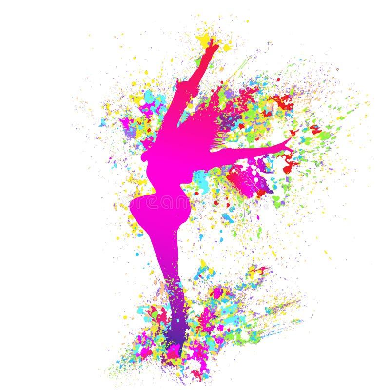 跳舞的五颜六色的女孩飞溅绘在白色的舞蹈 皇族释放例证