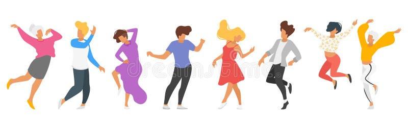 跳舞的人剪影 向量例证