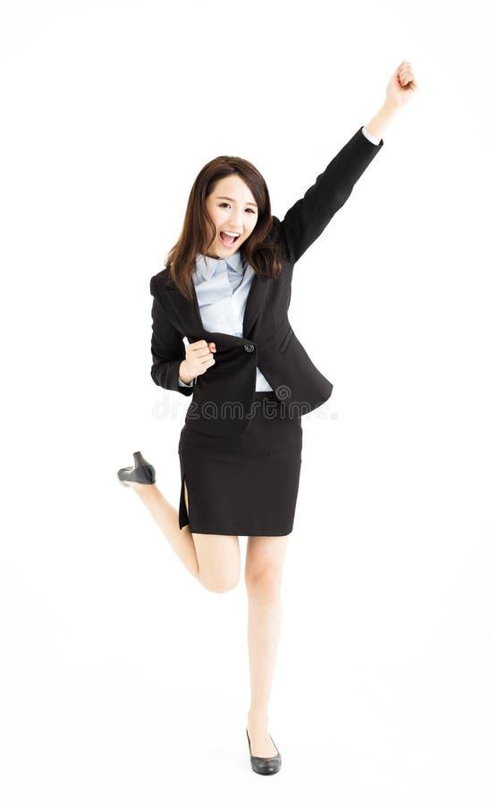 跳舞的女实业家庆祝和 库存照片