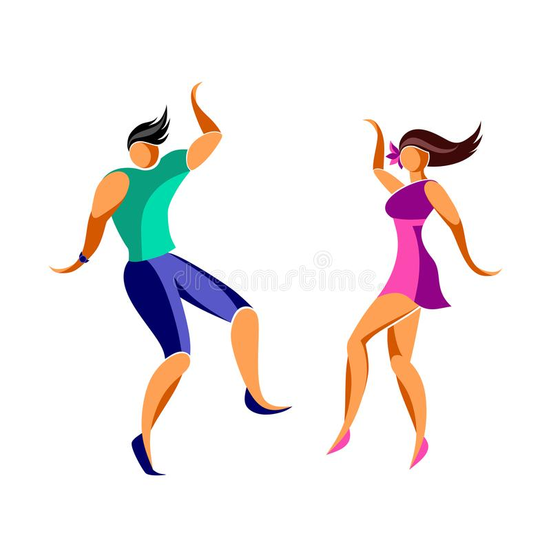 跳舞的年轻苗条男人和妇女 皇族释放例证