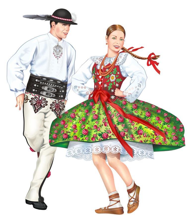 跳舞的波兰高地居民 库存例证