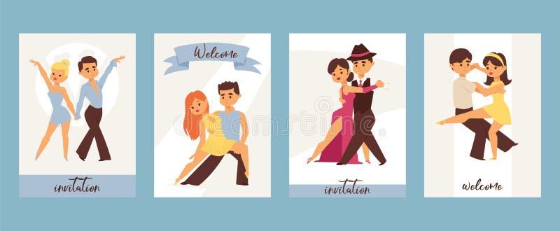 跳舞的男人和妇女舞厅,体育舞蹈 探戈,华尔兹,拉丁美洲的舞蹈导航例证 舞蹈演播室 库存例证